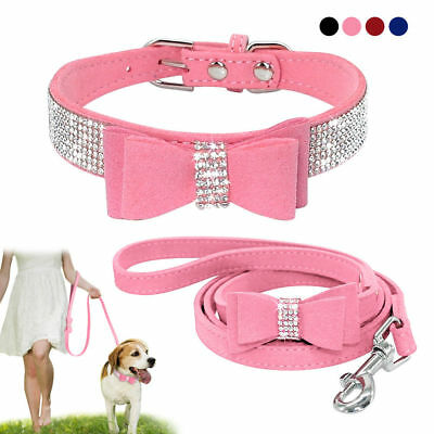 Rhinestone Dog Collar and Leash Soft Suede Bow for Doggie Puppy Cat Small Pet #2