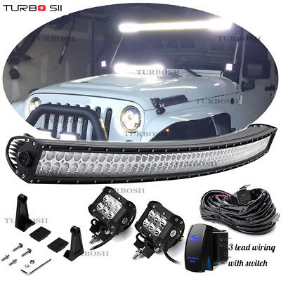700W 52inch Curved LED Offroad Light Bar Flood Spot Combo Truck Roof Driving SUV