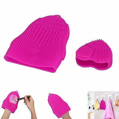 2Pcs Silicone Makeup Brush Cleaner Pad Washing Cosmetic Scrubber Board Mat +Hook
