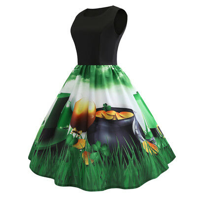 Spring Summer Women Vintage Dress 50s 60s Retro Rockabilly Housewife Party Dress
