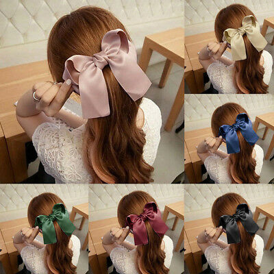 Girls Large Long Tail French Ribbon Barrette Boutique Bow Hair Clip Pins Gifts