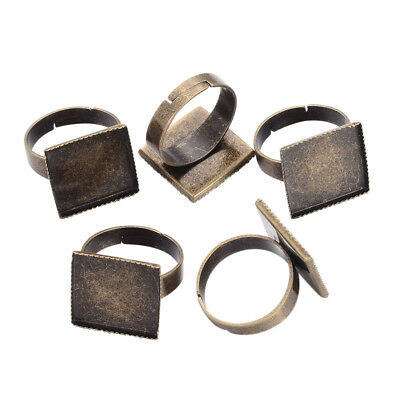 10 Pcs Vintage Style Brass Square Pad Adjustable Blank Ring for Craft DIY Making
