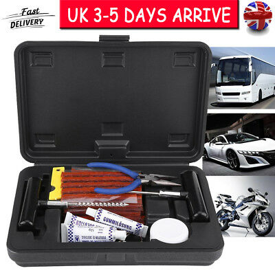 57pc Tire Repair Kit Heavy Duty Puncture Fix Tools Plug Fit Car Truck Motorcycle