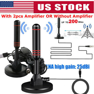 200Mile Antenna TV Digital HD Range TV Indoor Amplifier 1080P 4K 16ft Coax Cable