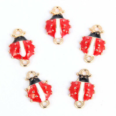10Pcs 3D Red Enamel/Alloy Ladybug Connector Charm DIY Jewelry Craft Making Gift