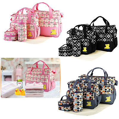 5pcs Multi-functional Mommy Mother Handbag Baby Changing Diaper Nappy Toy Bag US