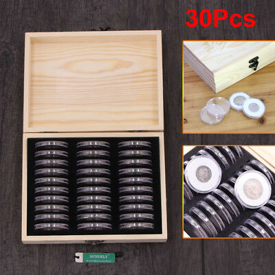 17-41mm 30pcs Round Coins Holders Storage Container Display Cases Wooden Box AU