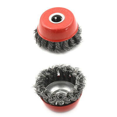 """3"""" Knot Type Fine Wire Cup Brush Wheel 5/8"""" Arbor FITS 4-1/2"""" Angle Grinder HGUK"""