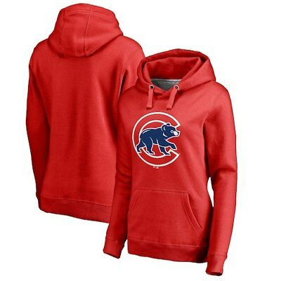 9c6639b46ae4e Fanatics Branded Chicago Cubs Women s Red Primary Logo Pullover Hoodie