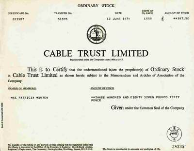 Cable Trust Limited 1974 Ordinary Stock 1550 Shares