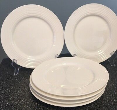 4 Food Network Stoneware Salad Plates In The White Ripple Pattern