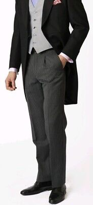 Ex Hire Black And Grey Striped Morning Suit Trousers