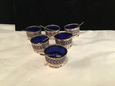 Set Of (6) Antique Pirced Sterling Silver & Colbalt Salt Cellars With Spoons Nr