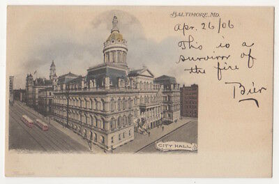 Baltimore Maryland c1905 City Hall, vintage Hand Colored undivided back postcard