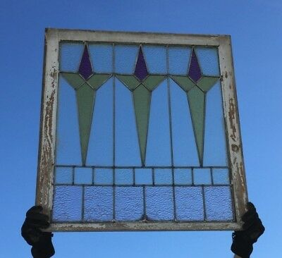 Antique Leaded Stained Colored Glass Window Sash Old Vintage 32X34 685-18C