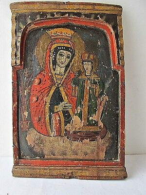 Authentic Antique Greek Icon Mother of God  19th Century Greece