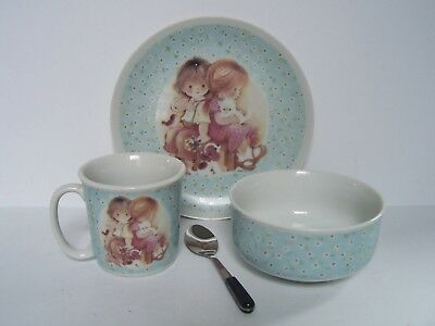 Vintage 1980 Enesco Childrens Porcelain Plate Bowl Cup Spoon Set Children Cat Do