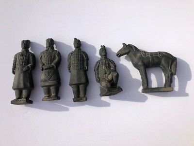 Vintage Set Chinese Terra Cotta Army Warriors Horse Figures Statues
