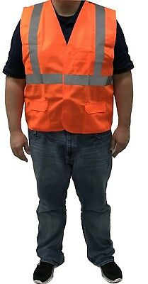 Orange Safety Vest 2XL XXL High Visibility Class II ANSI **Case of 50**