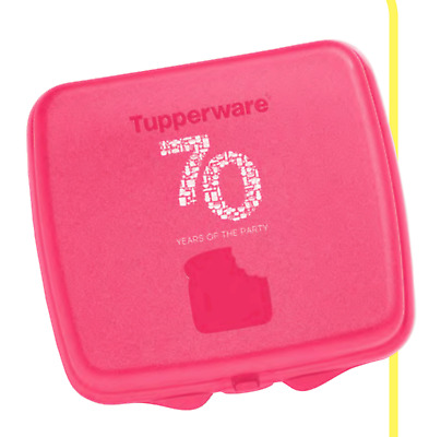 Tupperware Sandwich Keeper 70 Years Hinged Lid Lunch Toys Pink New