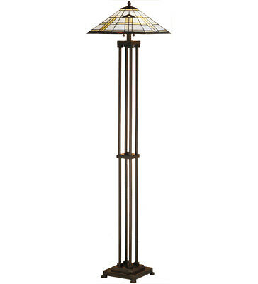 "Meyda Lighting 63""H Arrowhead Mission Floor Lamp w Stained Glass Shade Textured"