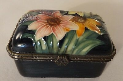 Old Tupton Ware Floral Lidded Hinged Oblong Trinket Box