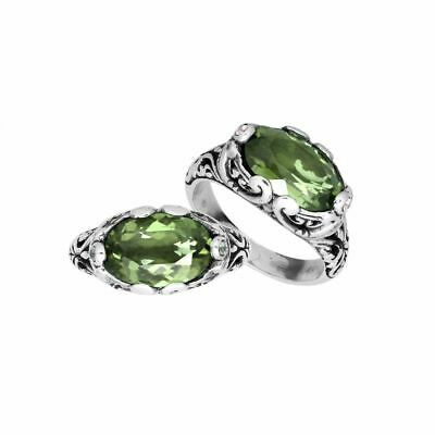 Sterling Silver Oval Shape Ring With Green Amethyst AR-6194-GAM-9''