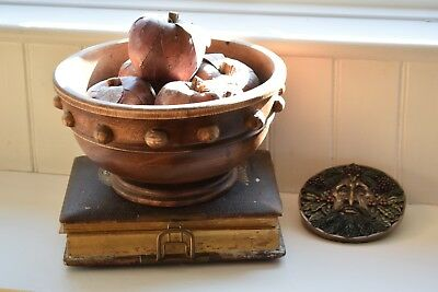 Antique Turned Oak Bowl With  Five Decorative Apples