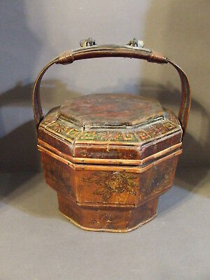 Antique Vintage Asian Chinese Wooden Wedding Food Basket With Lid