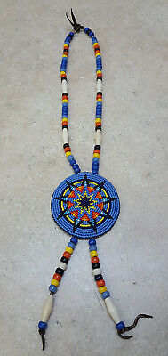 Nice Hand Crafted Beaded Star Design Rosette Native American Indian Necklace