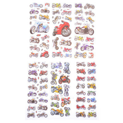 6Sheets Motorcycle Bike Auto Racing Scrapbook Reward Toys BubbleSticker In CA