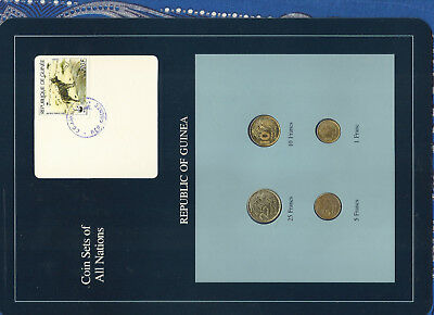 Coin Sets of All Nations Guinea UNC 1,5,10 Francs 1985 25 Francs 1987