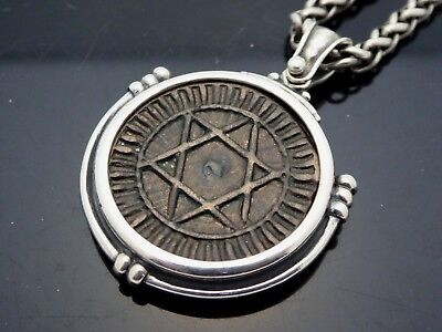 """Antique Coin Seal of Solomon Moroccan Falus Sterling Silver Chain Necklace 28"""""""