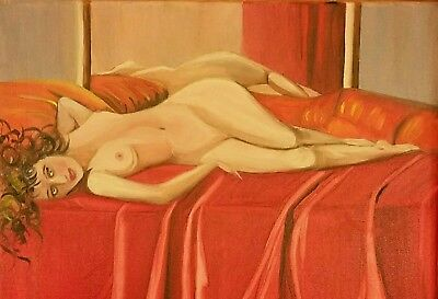 """Realism Nude Original Painting Oil On Canvas Artist Signed 24""""x30"""""""