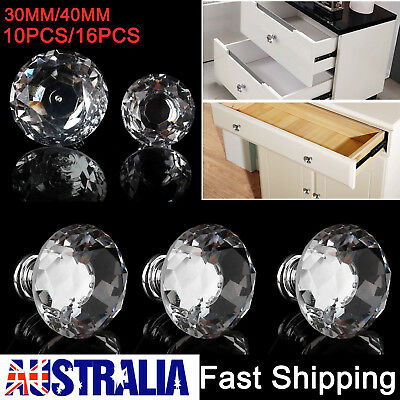 Diamond Crystal Glass Door Cabinet Drawer Knobs Handles Pulls AU STOCK