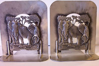Book Ends Safari Elephant Design Metal Matched Pair Sturdy Construction Nature