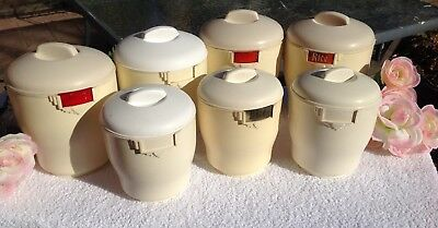 CANISTERS RETRO VINTAGE BAKELITE BRISTOLITE 1950's X 7 CANISTERS AUSSIE MADE