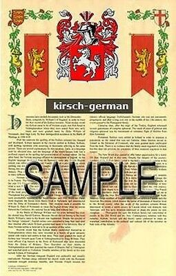 KIRSCH Armorial Name History - Coat of Arms - Family Crest GIFT! 11x17