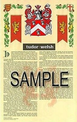 TUDOR Armorial Name History - Coat of Arms - Family Crest GIFT! 11x17