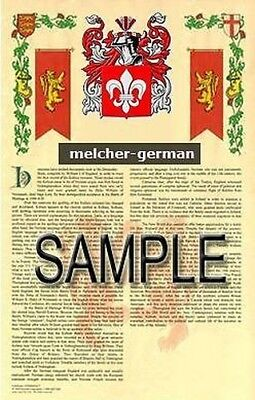 MELCHER Armorial Name History - Coat of Arms - Family Crest GIFT! 11x17