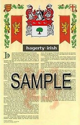 HAGERTY Armorial Name History - Coat of Arms - Family Crest GIFT! 11x17