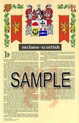 MCLANE Armorial Name History - Coat of Arms - Family Crest GIFT! 11x17