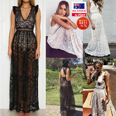 Women Sleeveless V Neck Lace Maxi Dress Ladies Evening Party Wedding Beach Dress