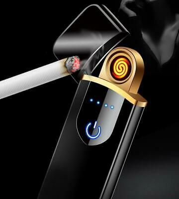 USB Rechargeable Electric Lighter Windproof Flameless Touch Sensor Power Display