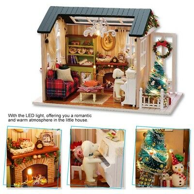 DIY Handcraft LED Wooden Dollhouse Miniature Furniture Kit Toy Doll House Gift