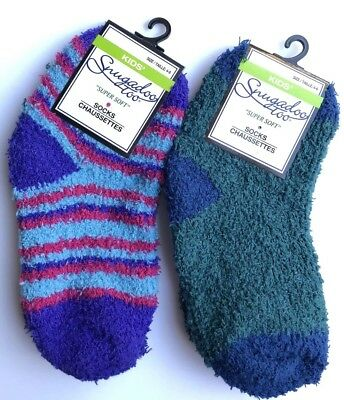 New Snugadoo Too Kids Ankle Super Soft Socks 2 Pairs Grn Blue and Multi Color