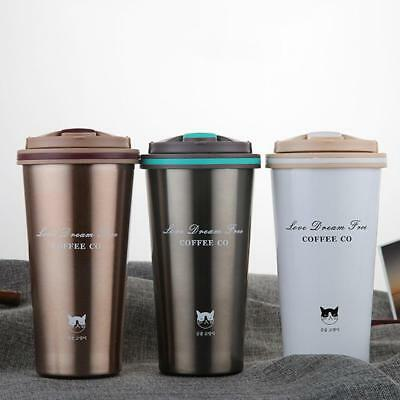 500ML Stainless Steel Insulated Thermal Travel Coffee Mug Cup Flask Leakproof