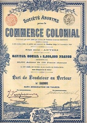 Commerce Colonial Anvers Antwerpen 1898