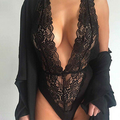 Deep V-neck Underwear Women Sexy Lingerie Hot Black Lace Erotic Lingerie