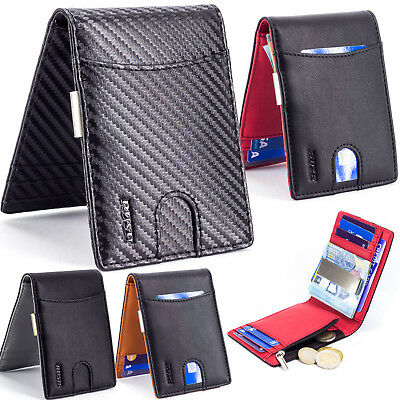 Slim Mens Wallet Clip RFID Block NFC Contactless Anti-Theft Protection Coin Zip